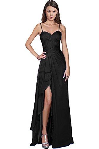 Victory Bridal Glamour sera vestiti lunghi Chiffon damigella vestiti prom/Ball abiti party vestiti Nuovo Schwarz-traeger