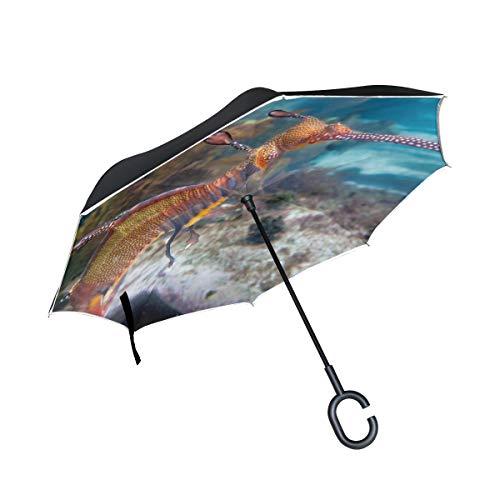 Geheime Seahorse Unterwasser Doppelschicht die Anti Uv Schutz wasserdicht winddichtes gerades Auto Golf umgekehrtes umgekehrtes Regenschirm Stand mit C förmigem Griff für Auto Regen im Freien faltet