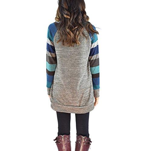 Maglia manica lunga camicia di tunica della camicia libera Abiti Casual Abiti Maglioni Maglione Outwear S-2XL Mxssi Grigio B