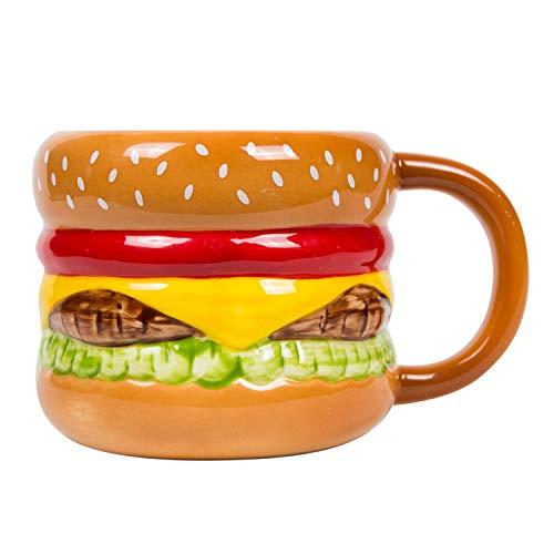 el & groove 3D Burger Tasse aus hochwertigem Porzellan, Fast Food Tasse mit 250ml Fassungsvermögen, Geschenkidee für Grill und Fleischliebhaber, Cheeseburger Becher,