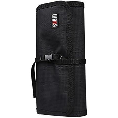 BUBM nuevo abrigo Electrónica Organizador, Fit Mini iPad, 3 carpetas, Negro
