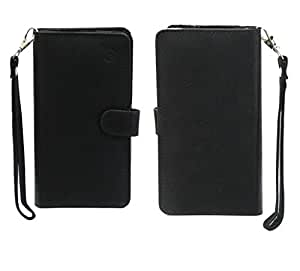 Jo Jo A9 Anya Leather Carry Case Cover Pouch Wallet Case For Panasonic P11 Black