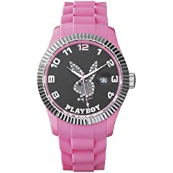 Playboy EVEN42BP-Evening Unisex Watch Analogue Quartz Black Dial Black Silicone Strap (Pink)