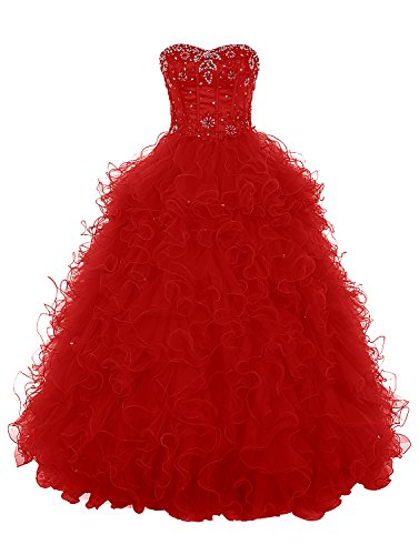 Dresstells, Robe de cérémonie Robe Quinceanera Satiné Organza forme marquise bustier en coeur avec emperler sequins Robe à volants Rouge