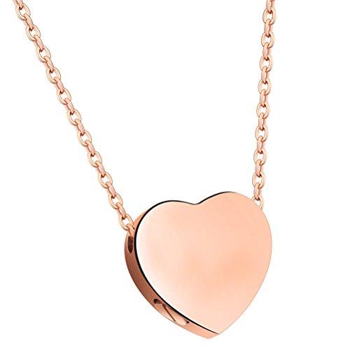 PAURO Damen Edelstahl Rose Gold Plated Floating Heart Anhänger Urne Halskette