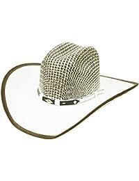 5129621fa9e Modestone Unisex Straw Cowboy Hat Breezer Fabric on Brim Edge White