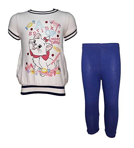 Completo neonata puro cotone maxi t-shirt + leggings marie aristogatti disney art. wd101178 (18 mesi, bianco)