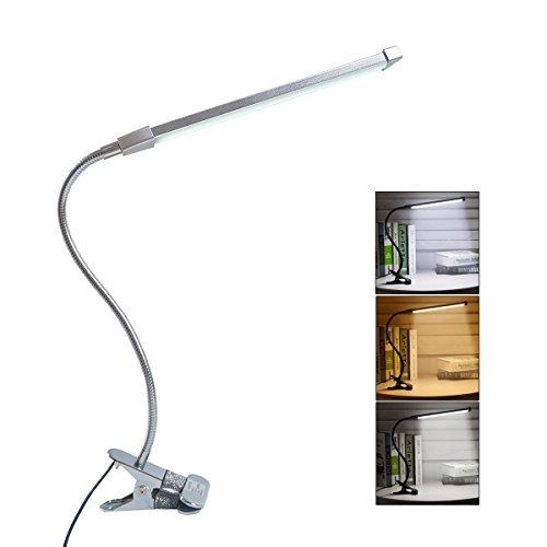 Eyoo Leselampe Buchlampe, Schreibtischlampe LED Büro Tischleuchte 3 Farb- und 10 Helligkeitsstufen dimmbar, Netzteil Inklusive, Arbeitsplatzleuchten, LED Leselampe mit Klammer Kinder-schreibtisch-telefon