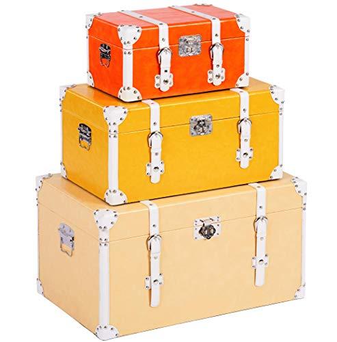ts-ideen - Juego de 3 Maletas como baúl, Caja, cajón, Caja de Madera, Vintage, Cofre de Madera, Piel sintética, Estilo Retro rústico, 3 Colores