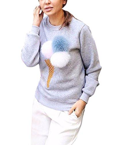 Donna Camicia Maglione Elegante Manica Lunga Stampato Floreale Rotondo Collo Primavera Blusa Casual Inverno Sciolto Top Autunno T-Shirt Grigio