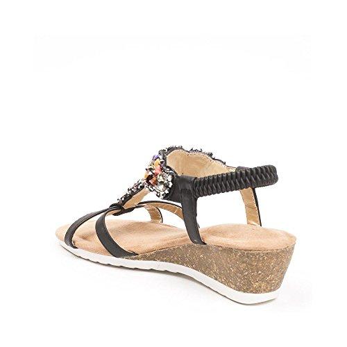 Ideal Shoes - Sandales compensées avec strass incrusté Shana Noir