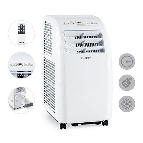 Metrobreeze Rom Mobile Indoor Fenster-Klimaanlage multifunktional inkl. Fensterabdichtungs-Set für Klapp- oder Schiebefenster (einstellbare Temperatur: 18 bis 30 °C, 10000 BTU, EEK A+, Fernbedienung, Timer, Ventilator-Funktion, integr. Bodenrollen) weiß -