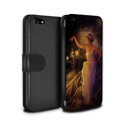 Officiel Elena Dudina Coque/Etui/Housse Cuir PU Case/Cover pour Apple iPhone 7 / Éclaboussure Rouge Design / Un avec la Nature Collection Poussière de Lutin