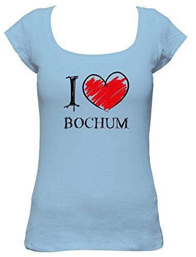 I love Bochum Fun Damen Boat Neck T-Shirt, Größe:XL;Farbe:hellblau