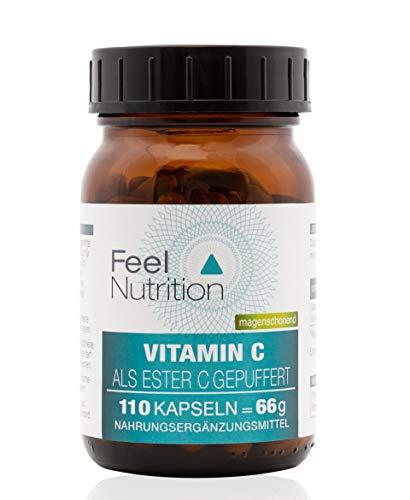 Vitamin C Ester-C® gepuffert - IM GLAS, OHNE WEICHMACHER - Pro Kapsel 395 mg elementares Vitamin C - OHNE Magnesiumstearat - vegan & hochdosiert - 110 Kapseln - Deutsche Premiumqualität -