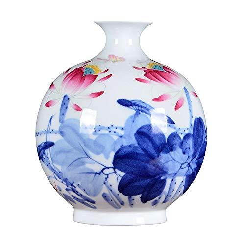 Cxp Boutiques Stil Chinesische Blaue und weiße Porzellan Meister handbemalte Keramik Vase Wohnzimmer Arbeitszimmer Dekorationen Elegant - Porzellan Wärmer
