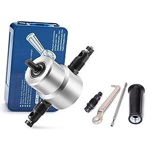 Knabber Metall Schneidwerkzeug, Doppelkopfblatt Nibbler Schneidebogen Zubehör für Elektrowerkzeuge mit Schraubenschlüssel Bohrmaschinen-Befestigungssatz