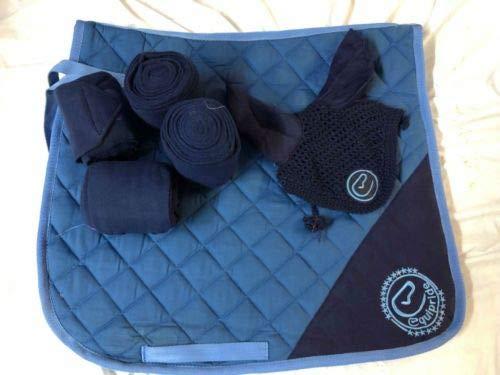 Equipride Schabracke Set mit passendem Fliegenschleier & Bandagen blau