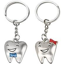 2 llaveros con motivo de dientes sonrientes para pareja o amigos