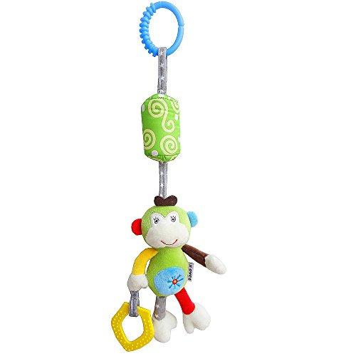 en Spielzeug, Soft Plüsch Animal Hängende Spielzeuge mit Beißring Ring Glocken für Infant Arch Kinderwagen Kinderbett Kleinkind Tier Rassel Puppe (Große Affe Wind Chime) ()