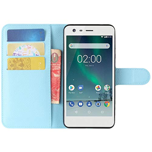 HualuBro Moto X2 Hülle, Premium PU Leder Leather Wallet HandyHülle Tasche Schutzhülle Flip Case Cover für Motorola Moto X 2. Generation XT1092 Smartphone (Blau)