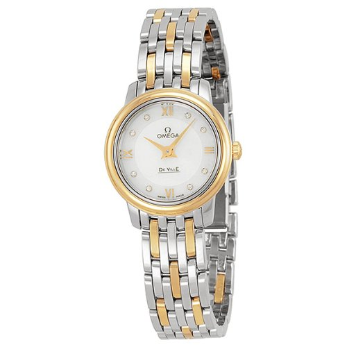 OMEGA WOMEN'S 24MM 18K GOLD AND STEEL BRACELET QUARTZ WATCH 42420246055001