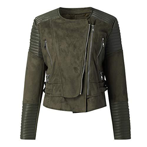 Giacca in Pelle Vintage da Donna Vendita Donna Premium Zeppa Cappotti Corto Semplice Moto Slim Cappotto Retro Giacche(Army Green,L)
