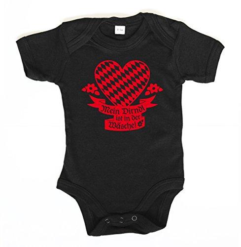 clothinx ::: MEIN DIRNDL IST IN DER WÄSCHE ::: Baby Body, Schwarz/Rot, 0-3 Monate (Mädchen Trinken T-shirt)