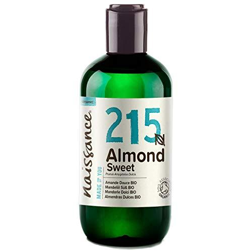 Naissance Mandelöl süß BIO (Nr. 215) 250ml - 100% rein & natürlich, BIO zertifiziert, kaltgepresst, vegan, hexanfrei, gentechnikfrei Ideal für Massagen, Haut- und Haarpflege. -
