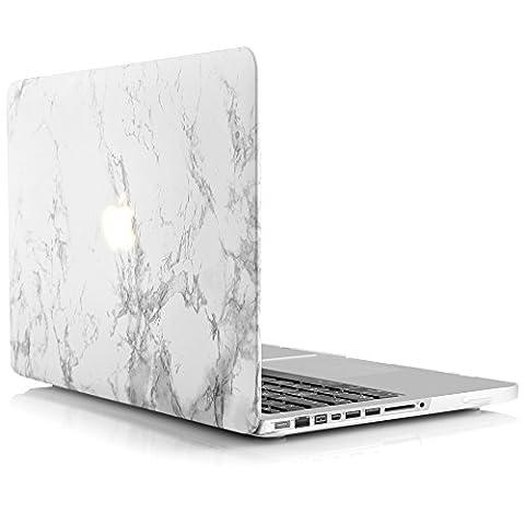 iDOO Étui solide en Mat givré en caoutchouc [Pour MacBook Pro 13 pouces - Avec lecteur CD: A1278] - Motif Marbre
