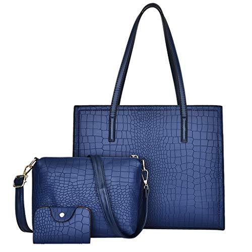TianWlio Damen Klassische Handtasche 3 Stücke Alligator Muster Handtasche Schultertasche + Umhängetasche + Kartenpaket Handtasche Winged Schultertasche Groß Umhängetasche Taschen