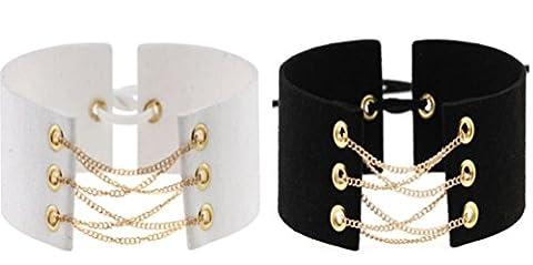 [2 Pack] Choker Kette Schwarz und Weiß - Halsband Damen