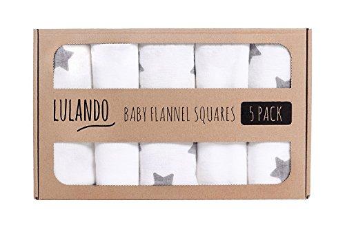 Preisvergleich Produktbild LULANDO Stoffwindeln und Moltontücher 70x80cm (5er Set). Waschbare Windeln und Spucktücher für Ihr Baby. Farbe: Sternchen Grau