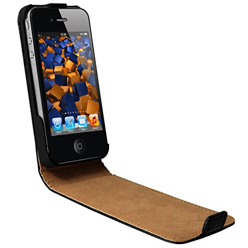 mumbi PREMIUM Leder Flip Case für iPhone SE 5 5S Tasche schwarz