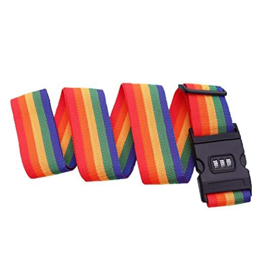 2 M Koffergurt Einstellbare Reise-Koffer 3 Digits Password Lock Buckle Strap Gepäck Gürtel Tag Koffergurte Koffergurt Reise Acc Rainbow Color -