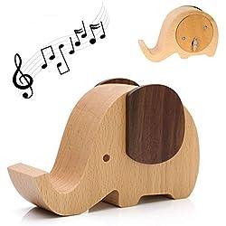 """Yoillone Handyständer aus Holz, Elefant, Handyhalter, Tischdekoration, Stifthalter aus Holz, Weihnachtsgeschenke/Weihnachtsgeschenkideen für Damen und Herren 5""""X3""""X2"""" Elephant-Music Box"""