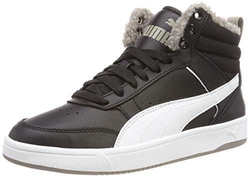 Puma Unisex-Kinder Rebound Street V2 FUR JR Hohe Sneaker, Schwarz Black White-Elephant Skin 04, 37.5 EU