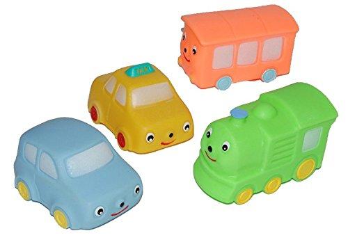 3 Set´s: Quietscher als Auto / Eisenbahn - Quietschtier Quietschfigur Baby Quietsch Lok Fahrzeuge Quietschauto (Leichte Eisenbahn-set)