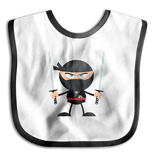 Baby Bibs Angry Ninja Warrior With Two Katana Flat Design Isolated On White Soft And Absorbent For Boys Girls Baby Bandana Drool Bibs -