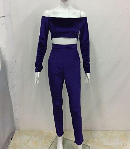 CHENGYANG Femme Mode Élégante Manche Longue Combinaison Pantalons Bodycon Moulante Jumpsuit Romper Violet