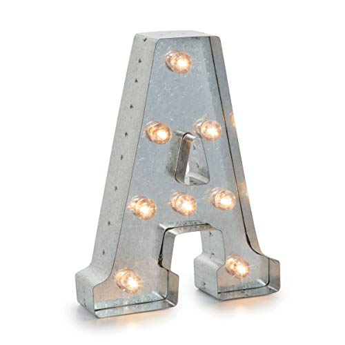 Darice LED Metal-Buchstabe A, Metall, Silver, 25.5 x 19 x 5 cm -