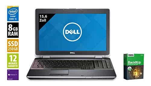 Dell Latitude E6530 | Notebook | Laptop | 15,6 Zoll (1600x900) | Intel Core i5-3320M @ 2,6 GHz | 8GB DDR3 RAM | 250GB SSD | DVD-Brenner | Windows 10 Pro (Zertifiziert und Generalüberholt) 900 Wsxga Display