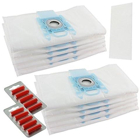 spares2go Chiffon Multi couche la poussière Sacs pour Aspirateurs Bosch (Lot de 10+ 2Filtres + 10désodorisants)