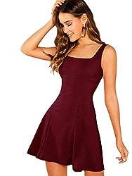 DIDK Damen Ärmellos Kleider Camisole Minikleider Einfarbig A Linie Sommerkleid Elegant Casual Freizeitkleid Strandkleid Ballonkleid Bordeaux L