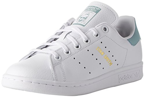 adidas Stan Smith J, Sneakers Basses Mixte Enfant, Blanc Cassé (Ftwr White/Ftwr White/Tactile Green S17), 37 1/3 EU