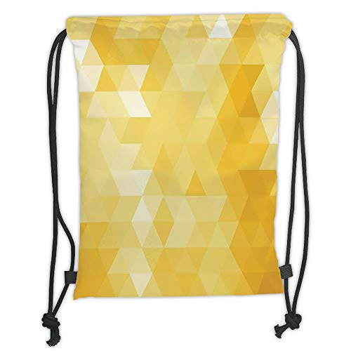 Drawstring Backpacks Bags,Yellow,Abstract Triangle Geometrical Shaded Patterns Modern Mosaic Crystal Illustration Motifs Home,Yellow Soft Satin,5 Liter Capacity,Adjustable String C