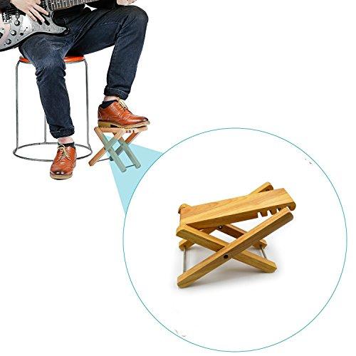 Zepthus® solido con blocchi in legno poggiapiedi poggiapiedi con 4posizioni facilmente regolabile in altezza per chitarra acustica o elettrica giocatori