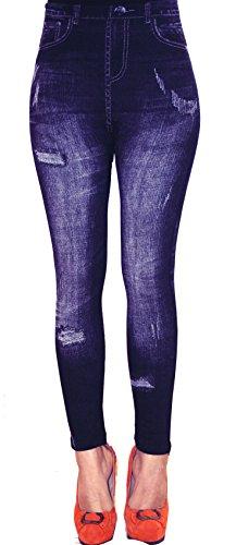 Thermo Fleece Leggings in Jeans Baumwolle Loock Optik Super Stretch Weich Warm (Einheitsgröße: S/M, Blau 02)