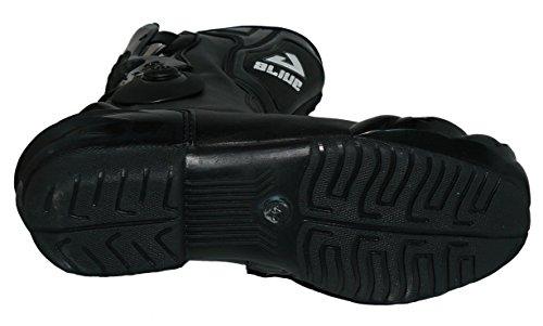 Protectwear TS-006-43 Motorradstiefel Racing aliue, Wasserabweisend aus schwarzem Leder mit aufgesetzten Hartschalenprotektoren, Größe 43, Schwarz - 3