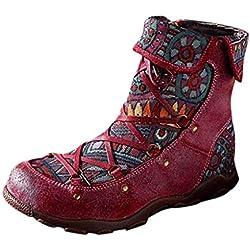 HOUMENGO Botines de Cuero para Mujeres, Invierno Mujer Botas de Nieve Cuero Botines Zapatos de Mujer Mujer Martín Botas Retro Moda Casual Cremallera Lateral Zapatos Boots Ocasional Anti Deslizante